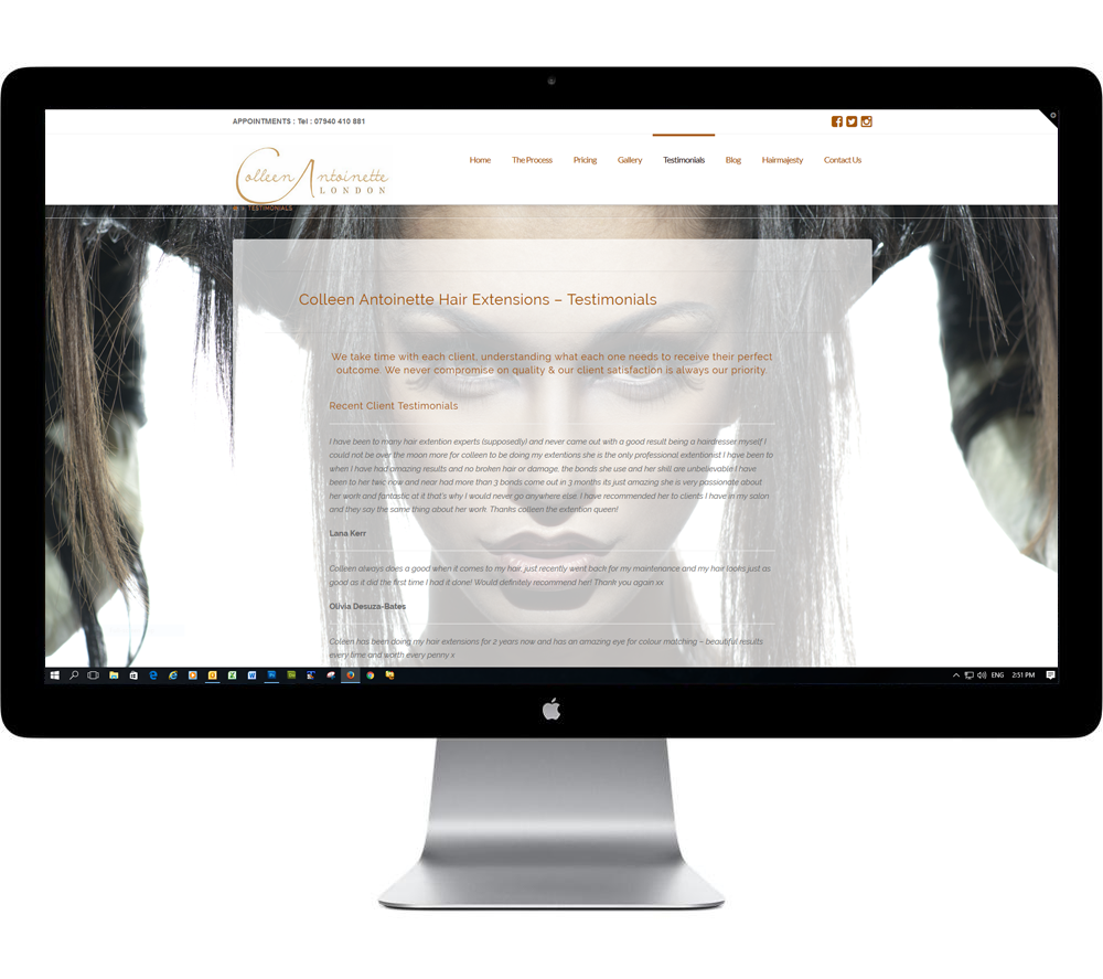 website design for hairdressing salons