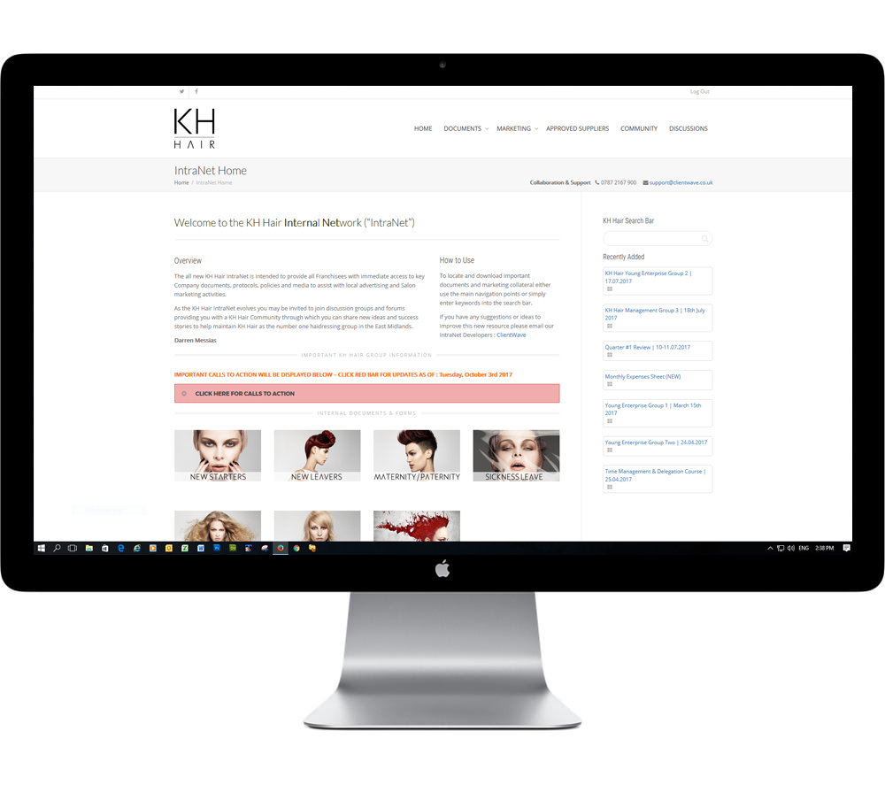 Salon IntraNet Website Development